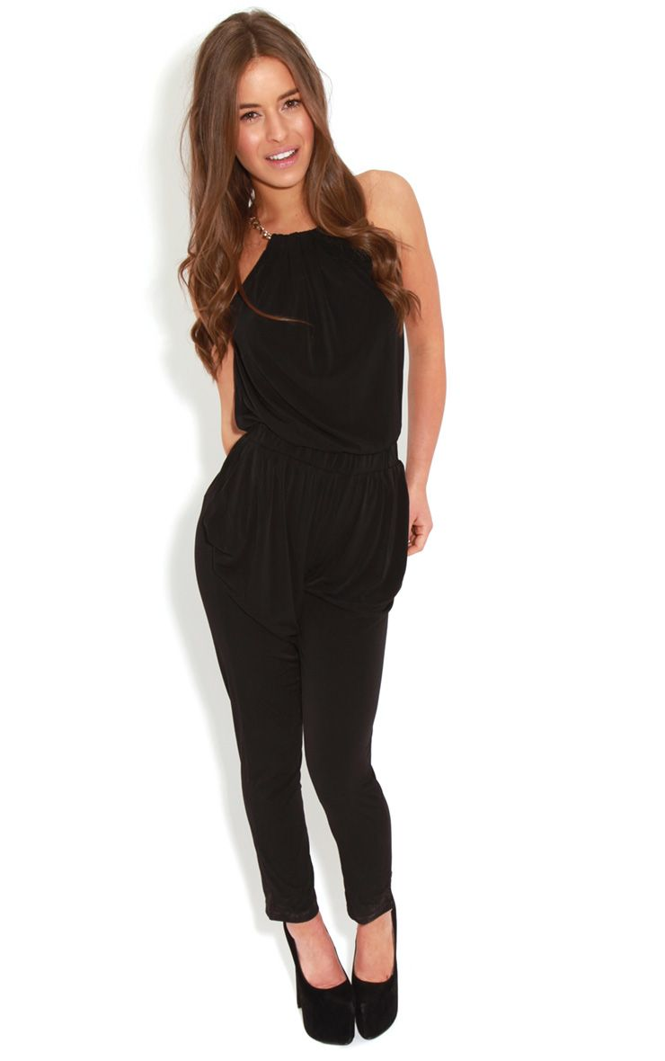 Carly Black Chain Neck Jumpsuit-S 1
