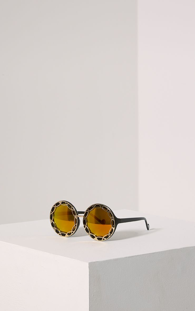 Tally Gold Round Frame Sunglasses Yellow