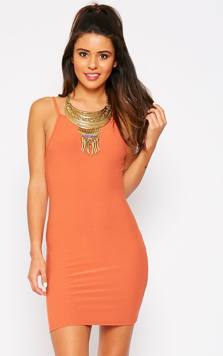 Juli Rust Crepe Racer Neck Mini Dress 1