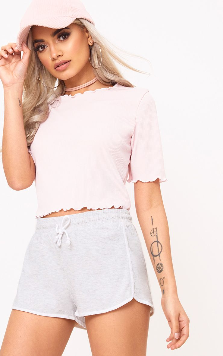 Baby Pink Frill Contrast Edge Crop Top