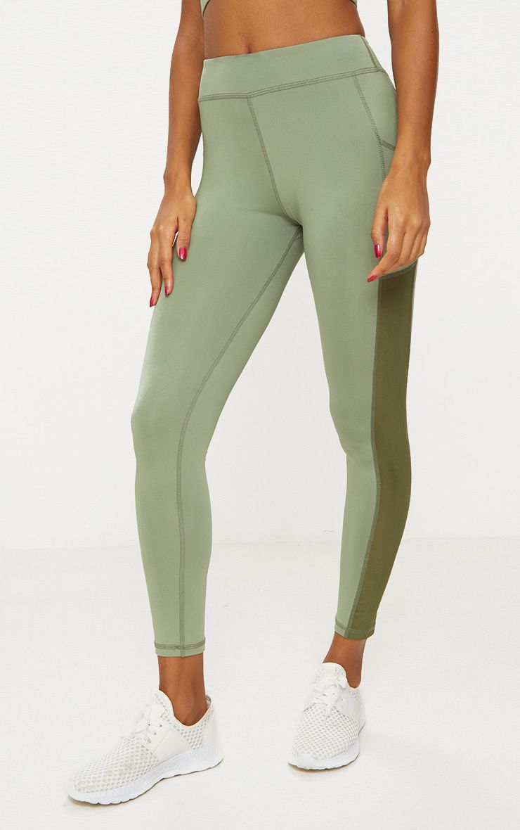 PrettyLittleThing Khaki Band Leggings