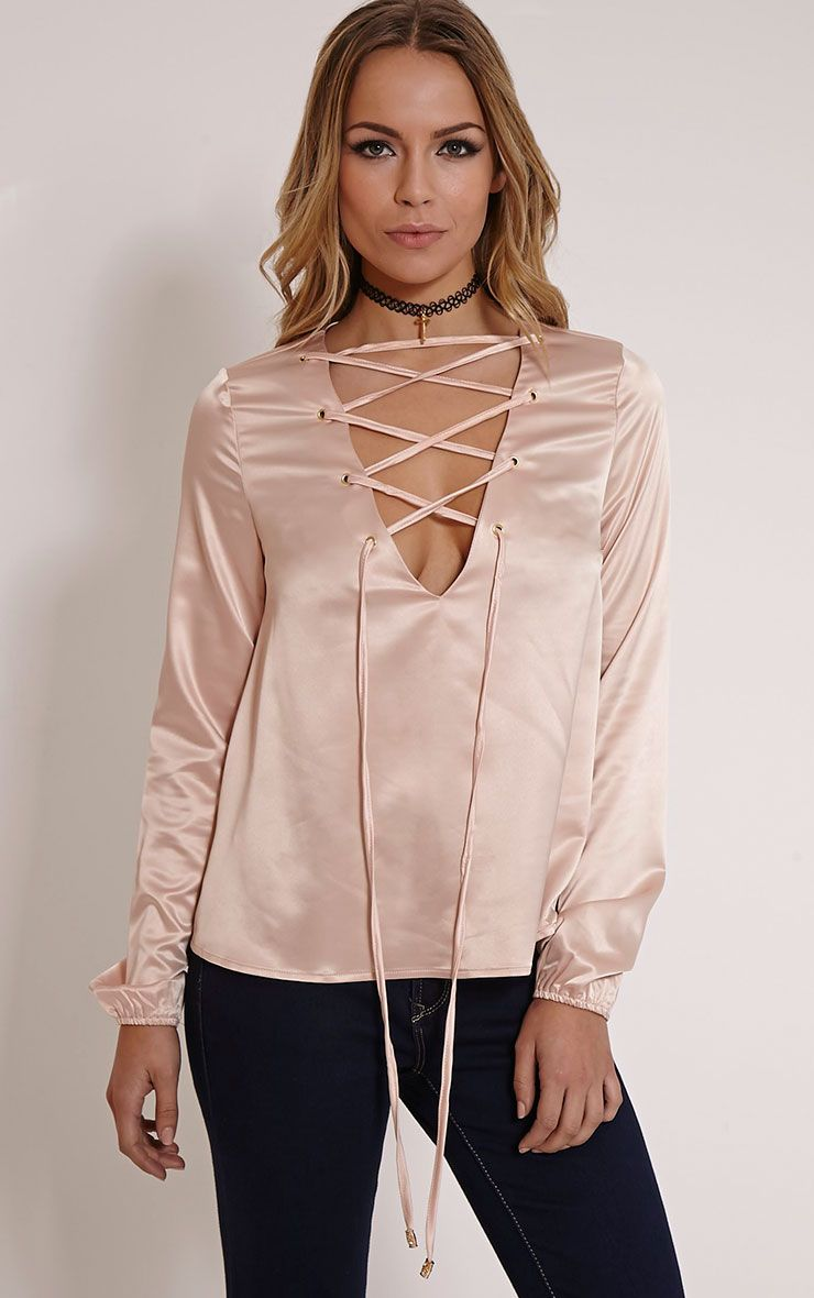Gina Blush Satin Lace Up Detail Blouse 1