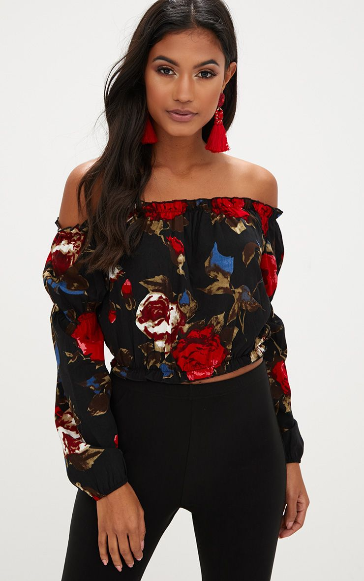 Red Floral Print Bardot Frill Crop Top