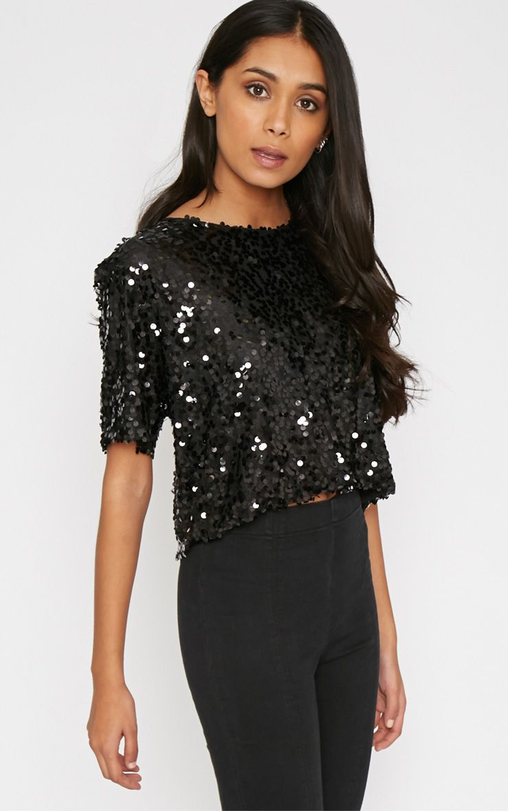 Tamara Black Sequin Embellished Top 1