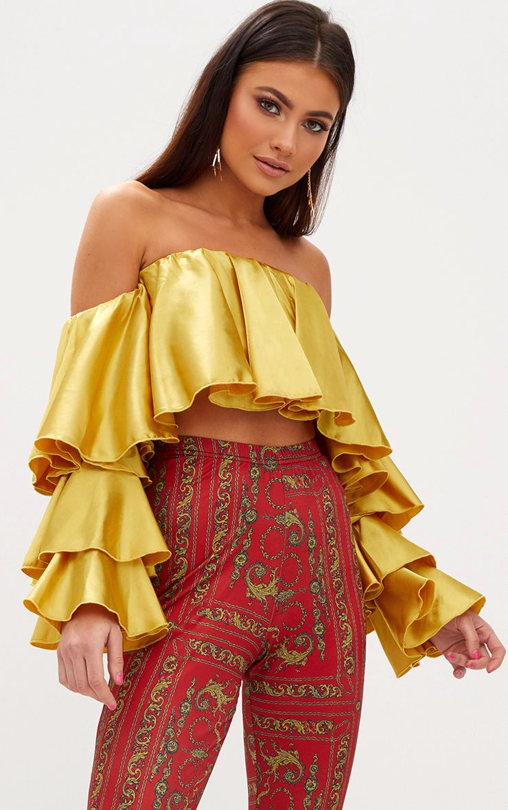 Chartreuse Satin Layered Frill Bardot Crop Top
