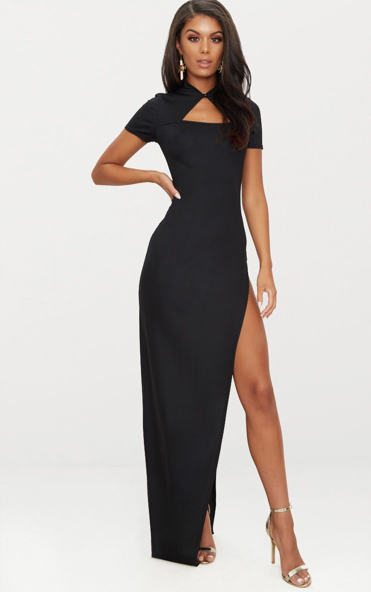 Black Oriental Cut Out Detail Maxi Dress