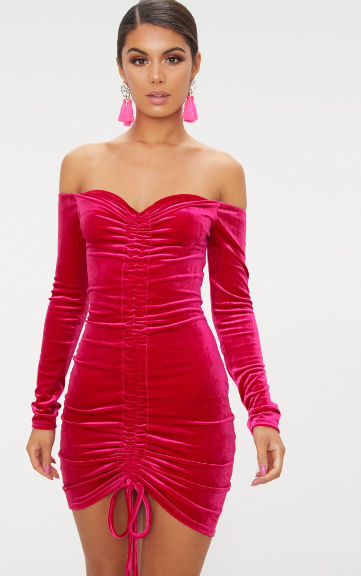Pink Velvet Bardot Long Sleeve Ruched Bodycon Dress