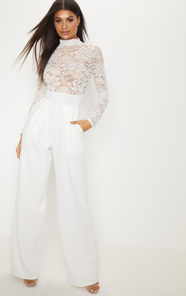 White Lace High Neck Long Sleeve Jumpsuit