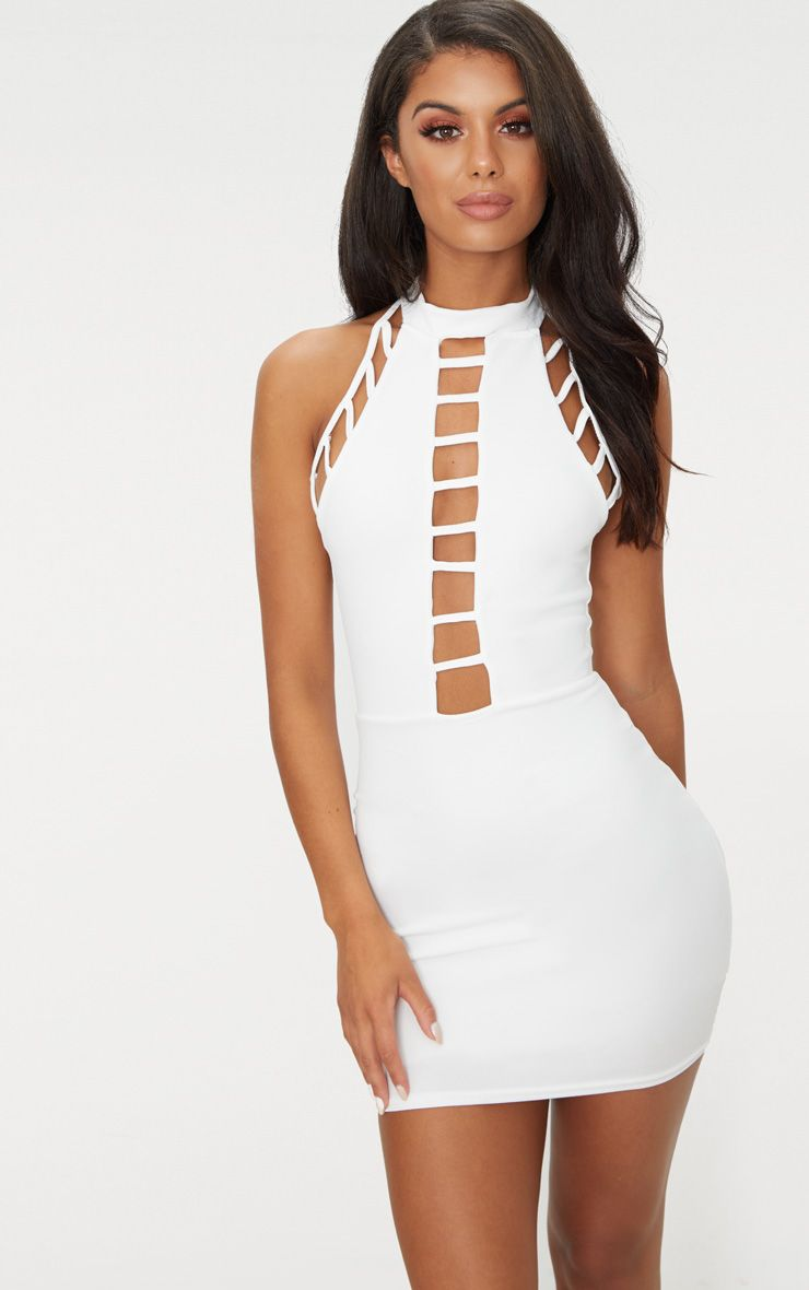 White High Neck Lattice Detail Bodycon Dress