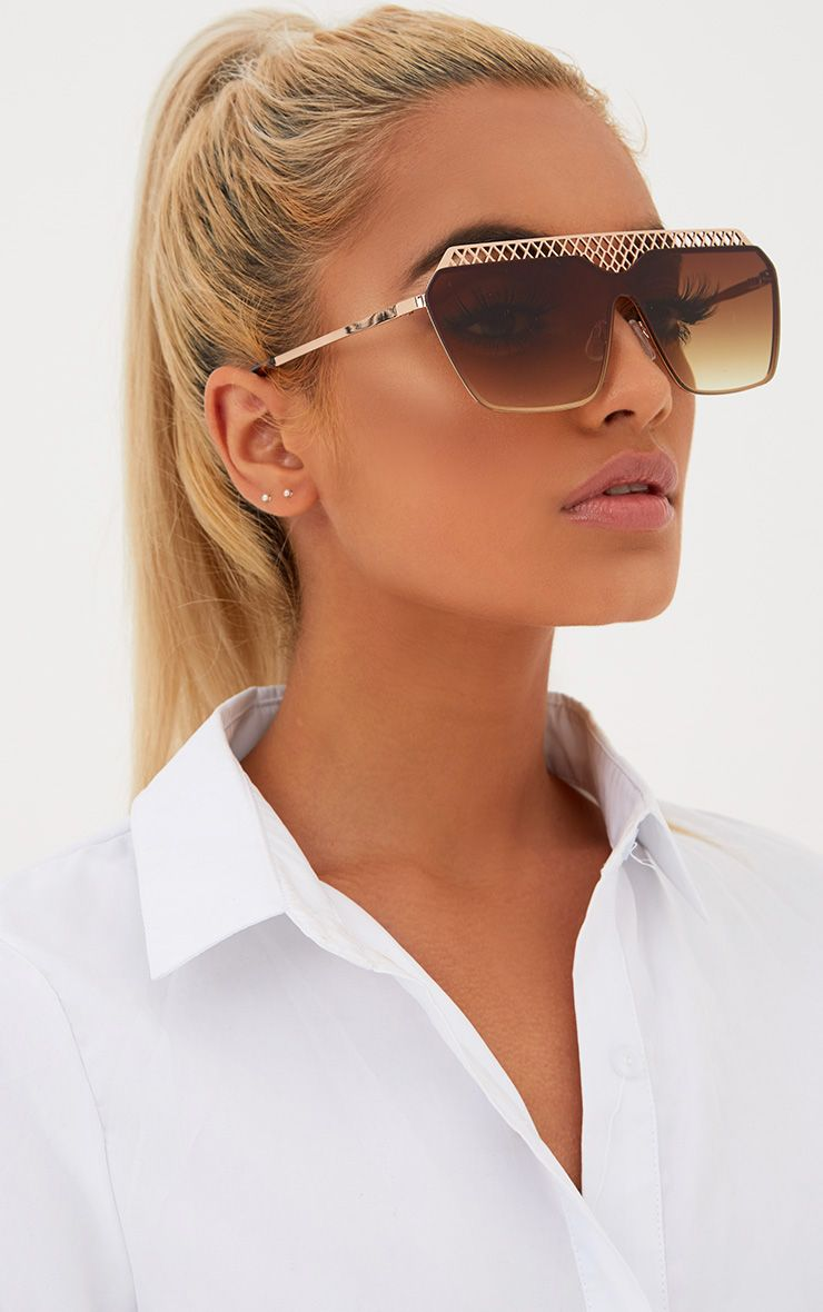 Gold Cage Topped Square Lens Sunglasses