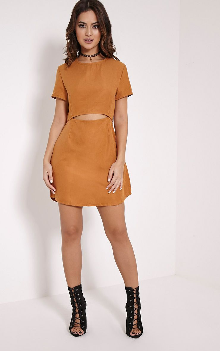 Yumie Mustard Cord Cut Out A-Line Dress 1