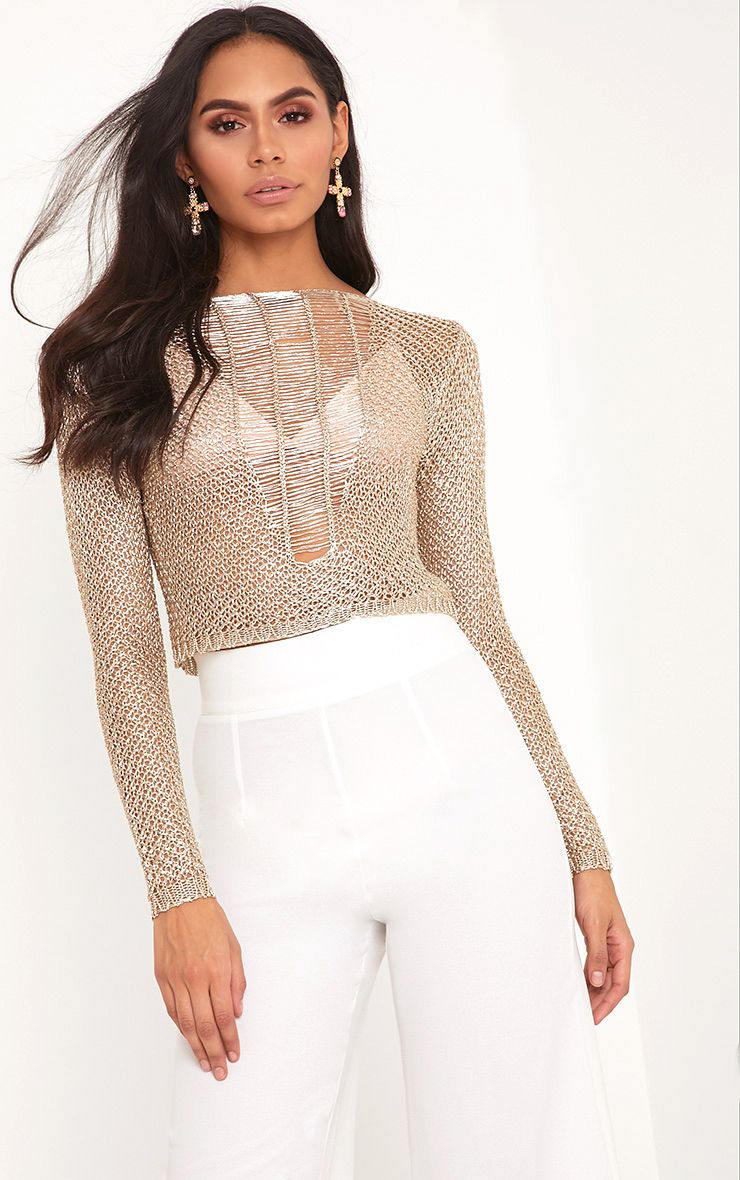Jordanne Gold Metallic Knit Ladder Detail Crop Jumper