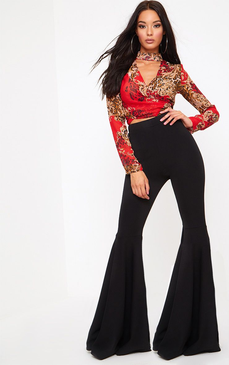 Black Extreme Flared Trousers