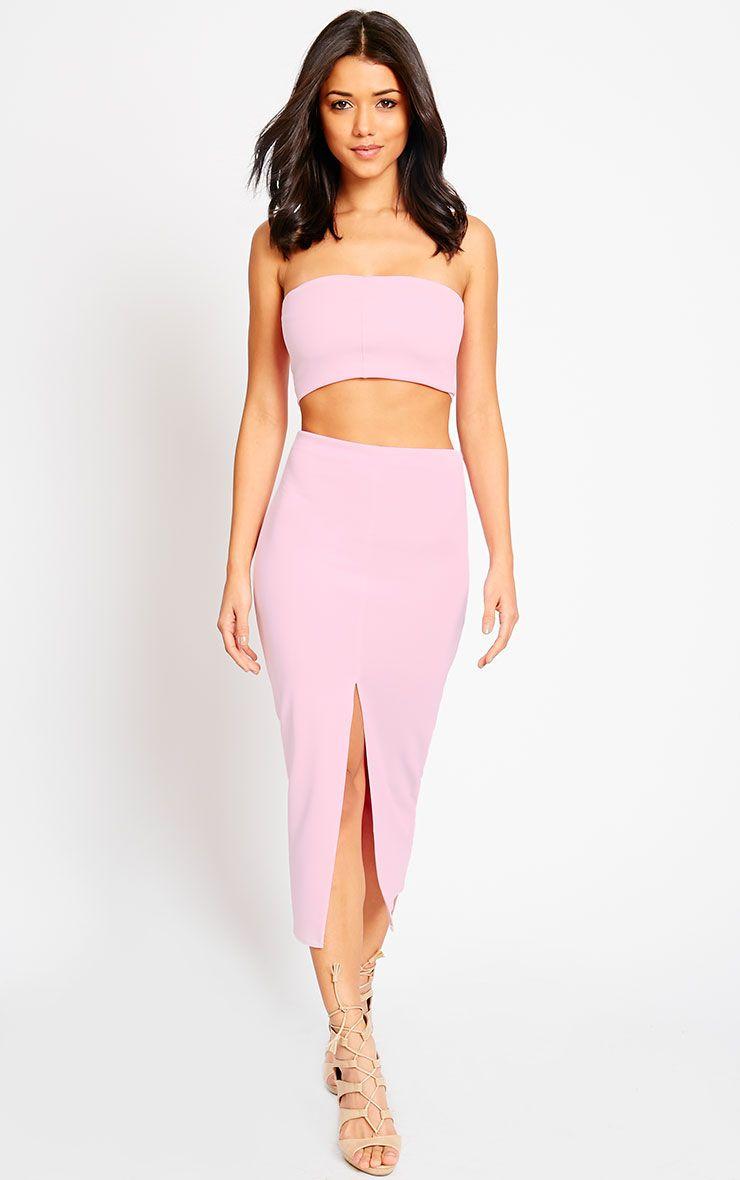 Kaja Baby Pink Scuba Split Skirt 1