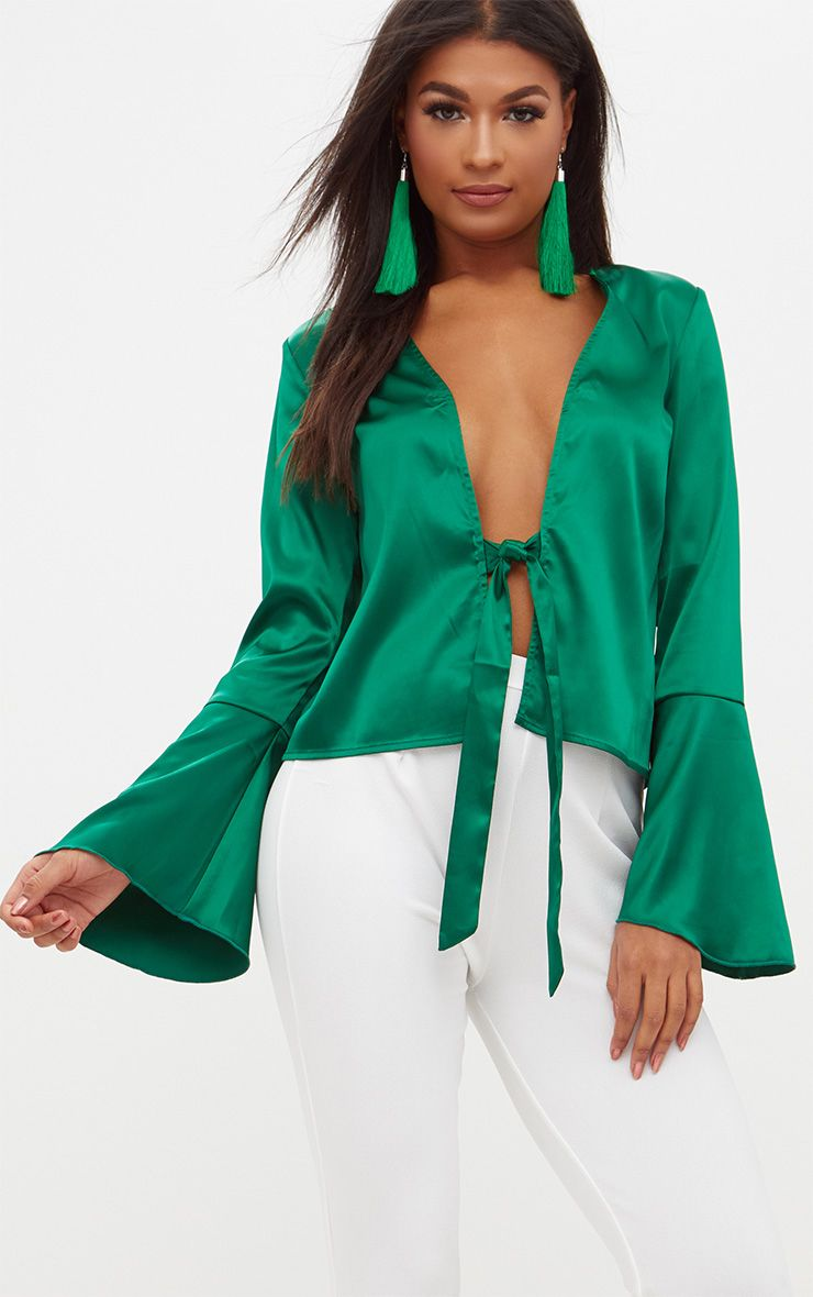 Green Satin Flute Sleeve Plunge Tie Blouse