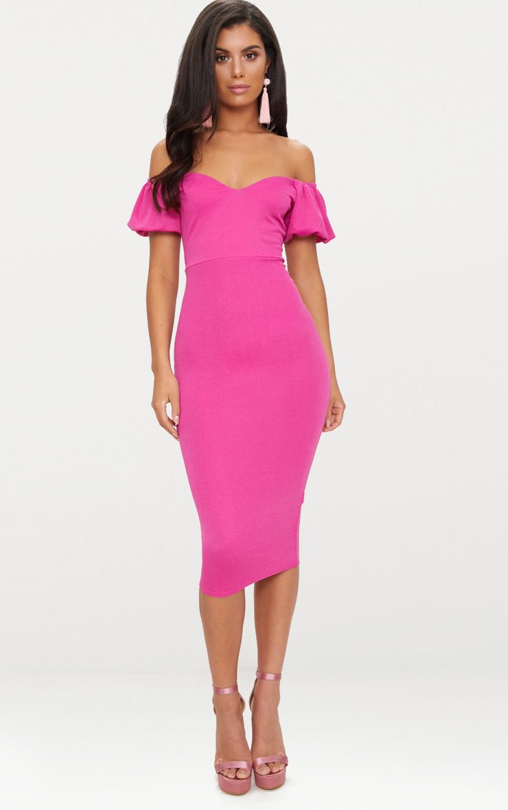 Fuchsia Balloon Sleeve Bardot Midi Dress