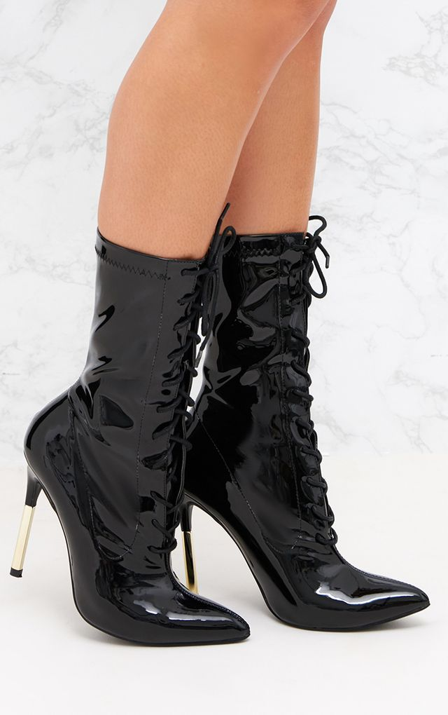 Black Patent Lace Up Gold Slim Heel Ankle Boot
