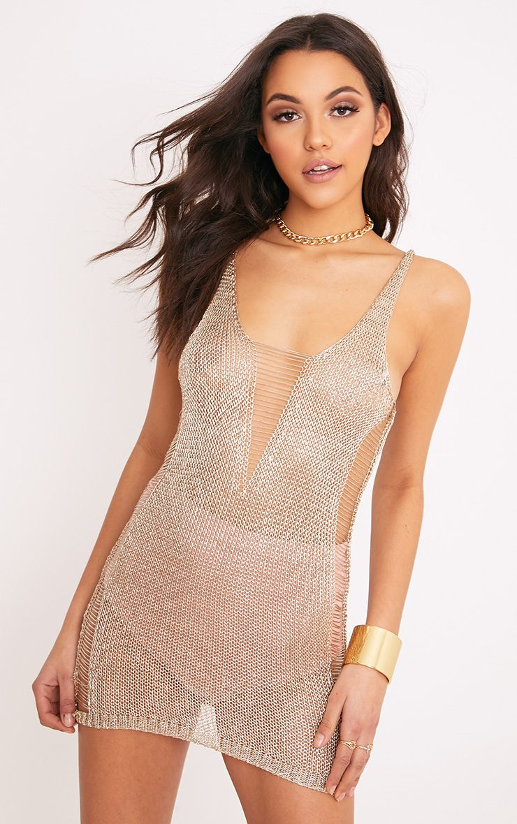 Briley Sheer Gold Ladder Detail Metallic Knitted Dress