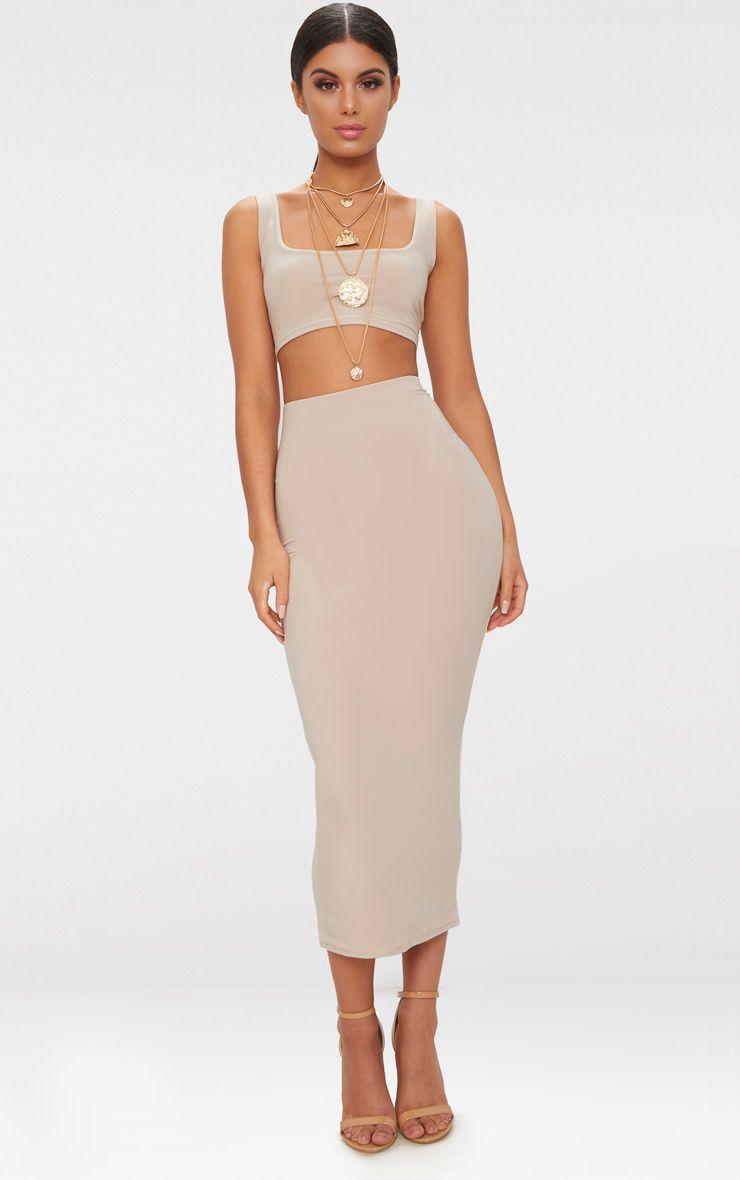 Stone Slinky Longline Midiaxi Skirt