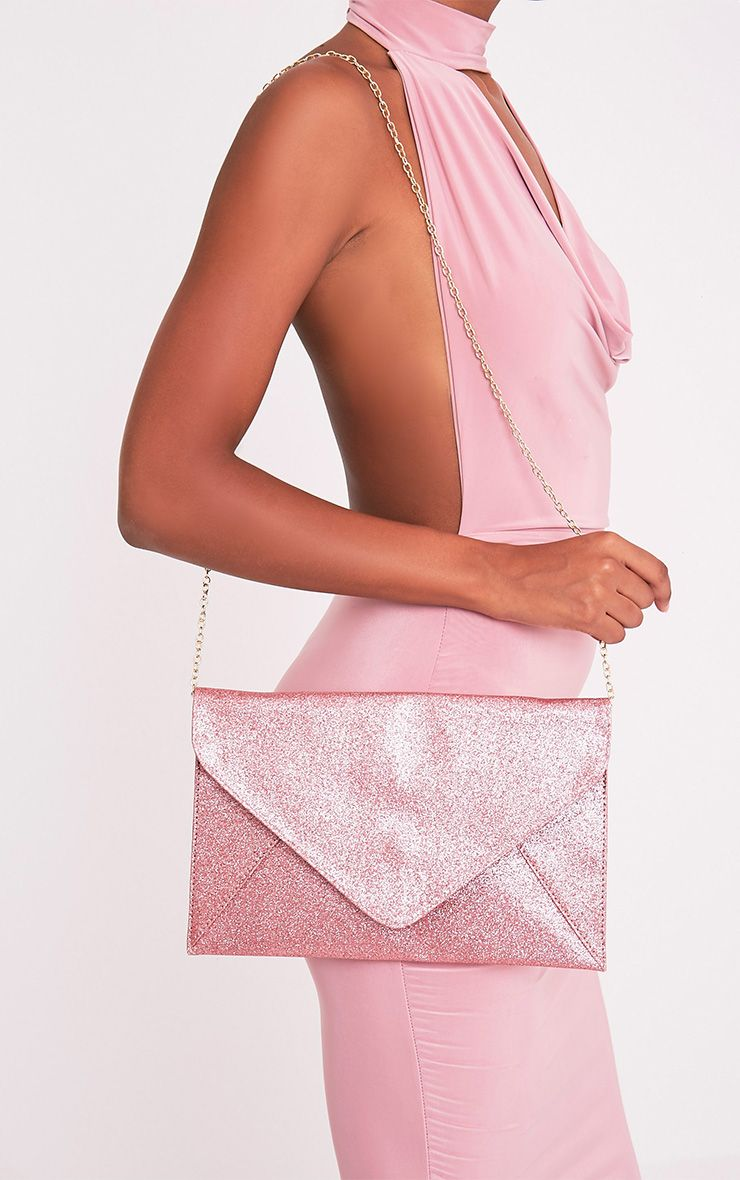 Paige Pink Glitter Clutch Bag