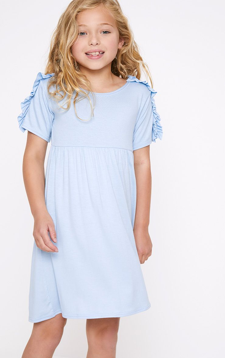 Ruffle Shoulder Detail Baby Blue Dress
