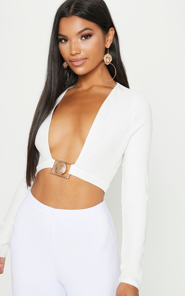 White Lion Clasp Plunge Long Sleeve Crop Top