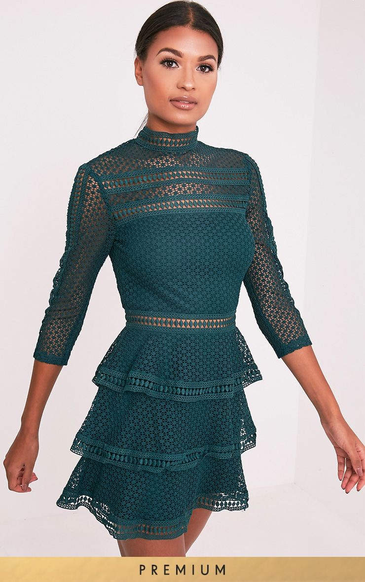 Caya Emerald Green Lace Panel Tiered Mini Dress