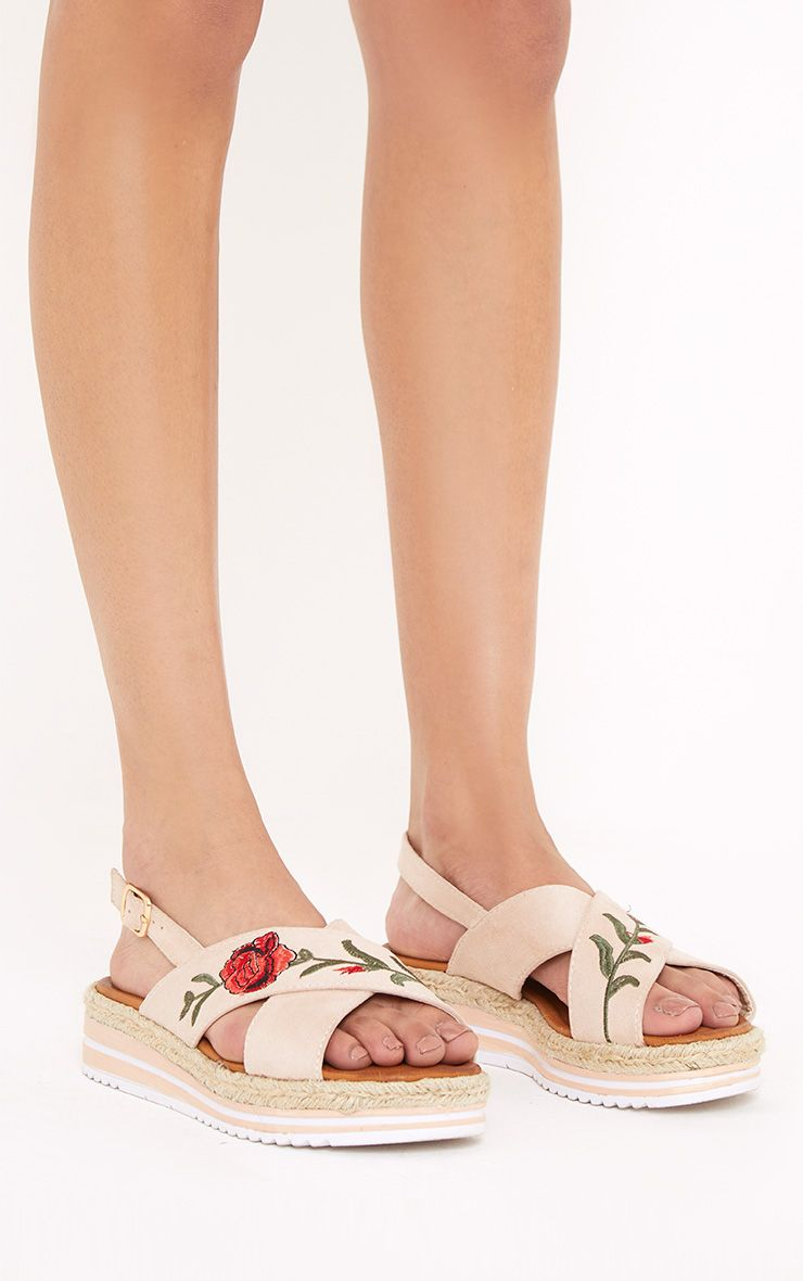 Lois Nude Rose Embroidered Sandals
