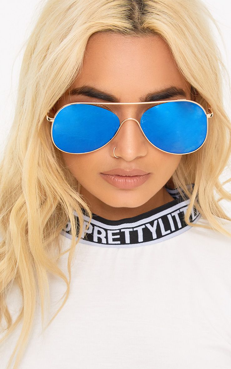 Blue Lens Oversized Aviator Sunglasses