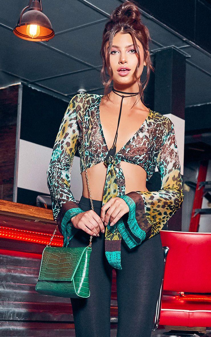Arleena Green Sheer Print Knot Front Flare Sleeve Blouse