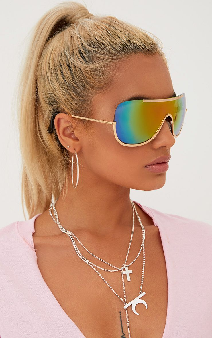 Multi Oversized Curved Mirror Aviators