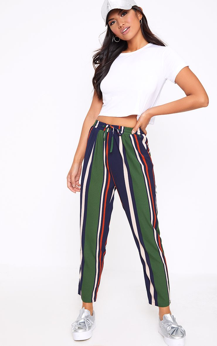 Navy Stripe Casual Trousers