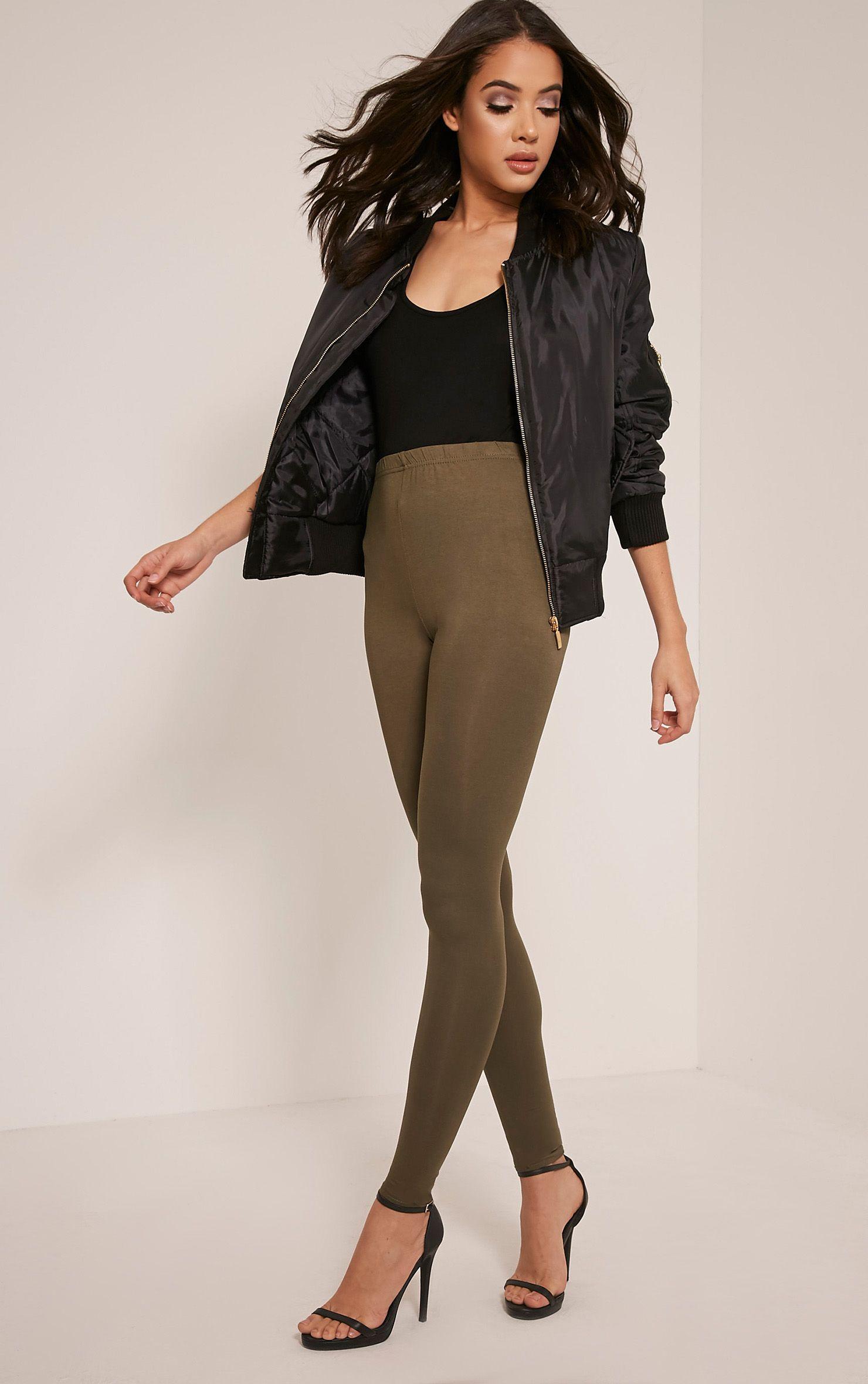Basic Khaki Jersey Leggings 1