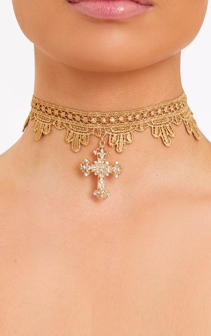 Gold Lace & Cross Choker