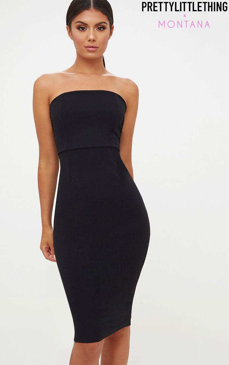 Black Bandeau Split Back Midi Dress