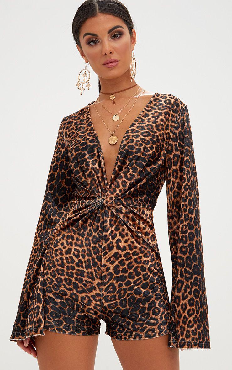 Leopard Print Velvet Knot Playsuit