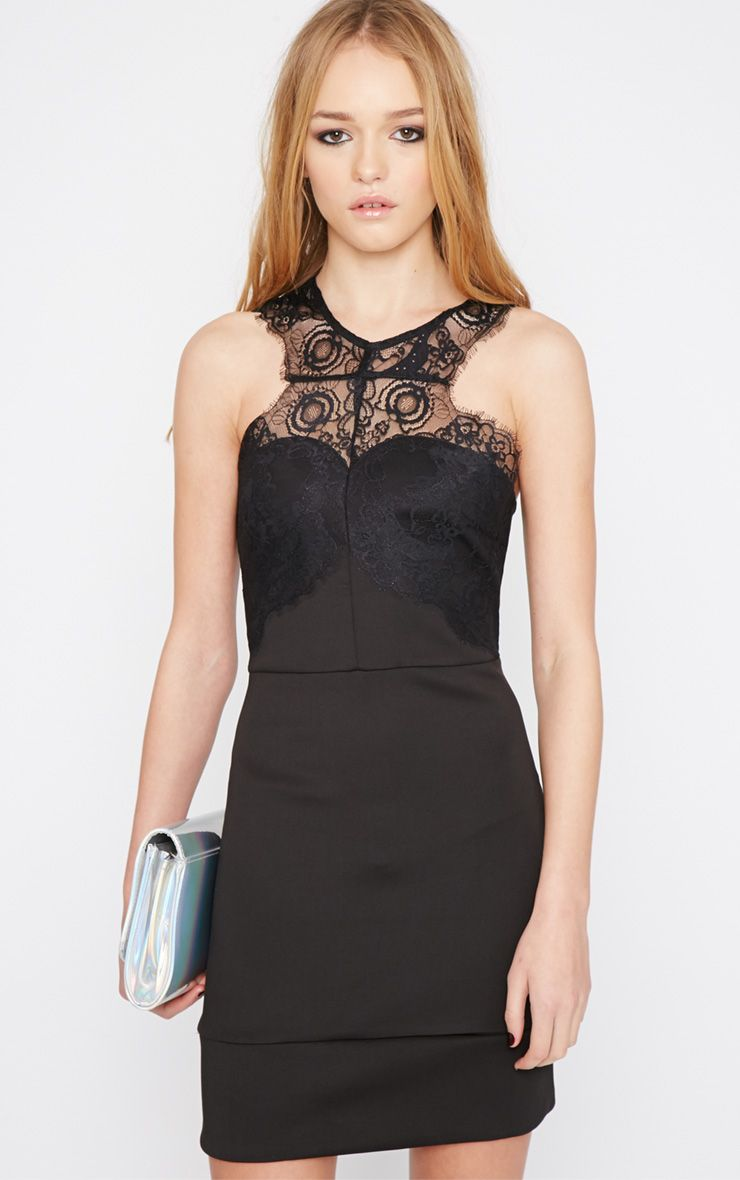 Suzy Black Lace Detail Bodycon Mini Dress 1
