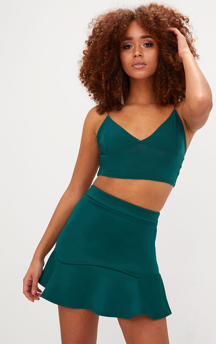 Emerald Green Flippy Hem Mini Skirt