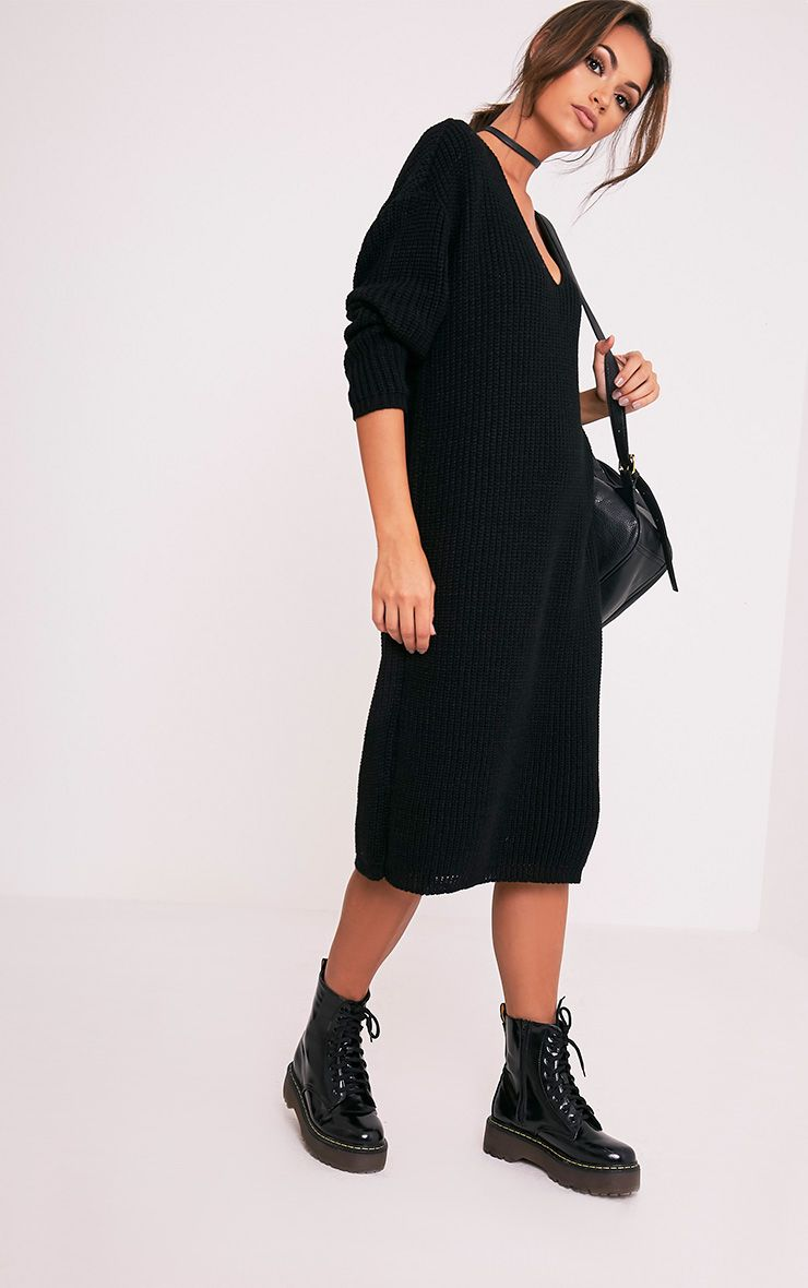 Breeze Black V neck Oversized Jumper Dress