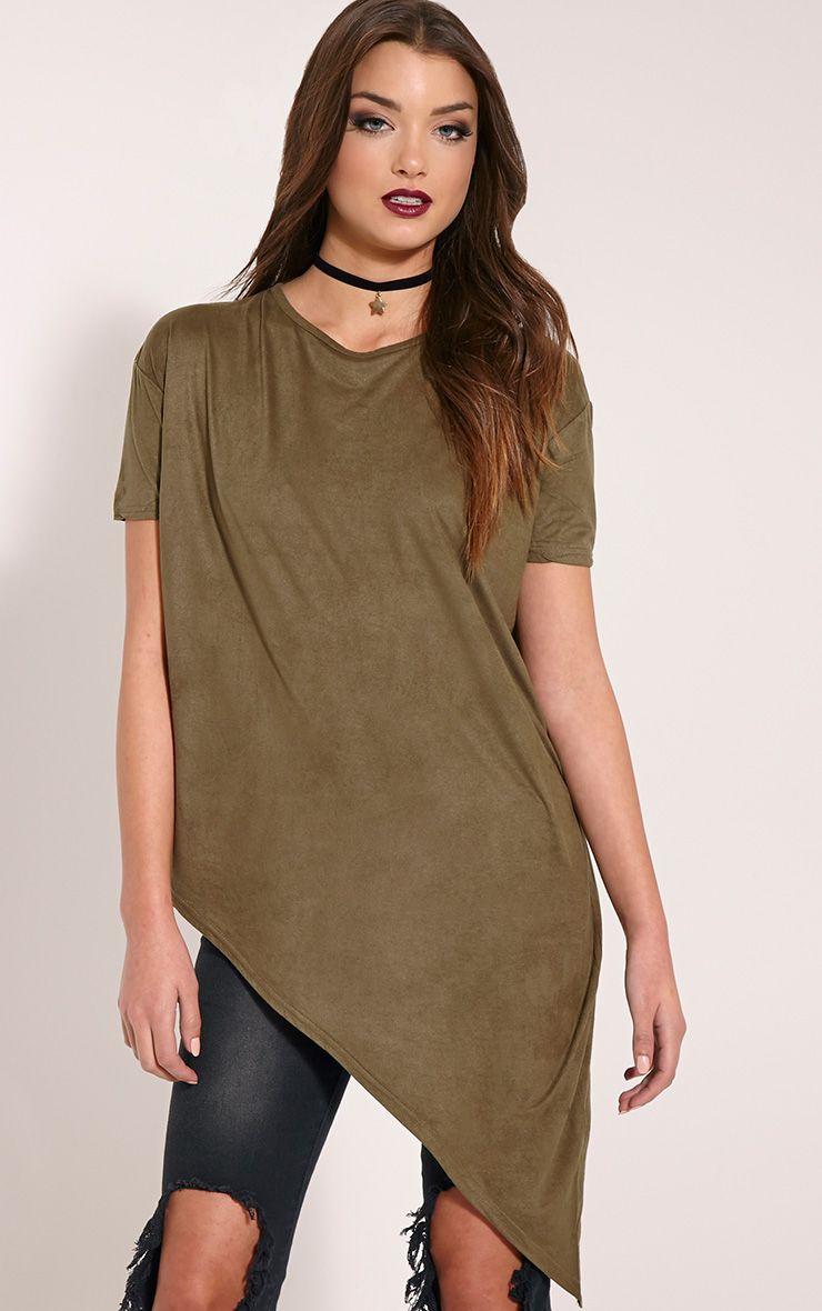 Embry Khaki Asymmetric Hem Faux Suede T-Shirt 1