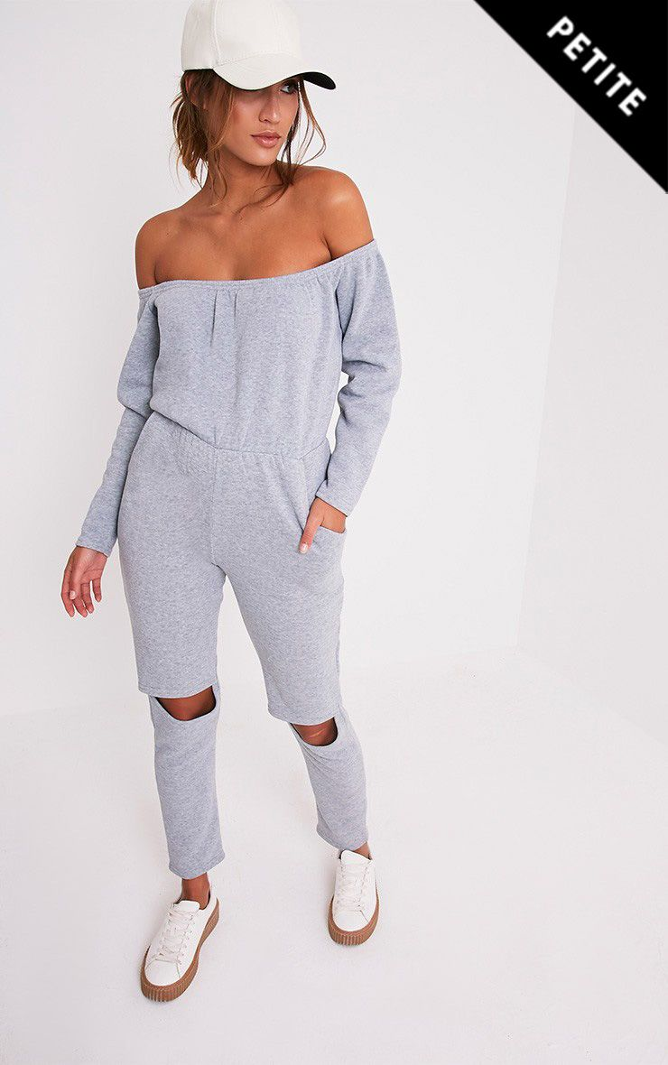 Petite Thelma Grey Ripped Knee Off the Shoulder Jumpsuit