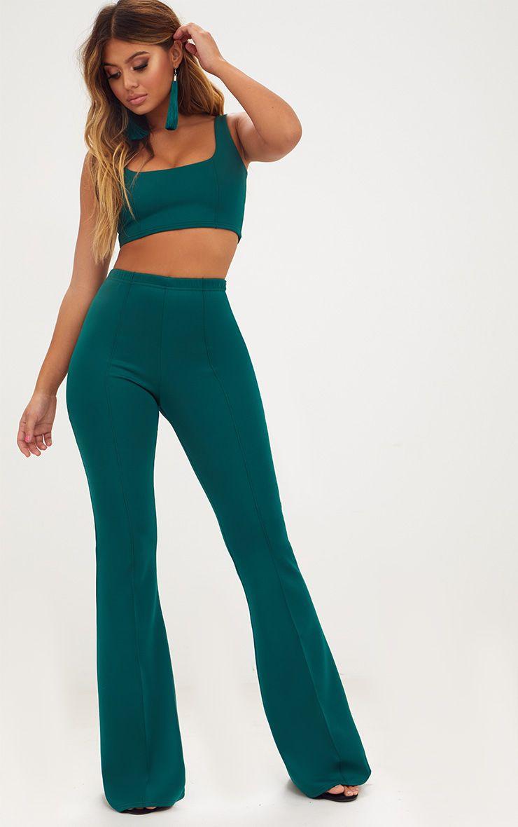 Emerald Green High Waist Extreme Flare Long Leg Trousers
