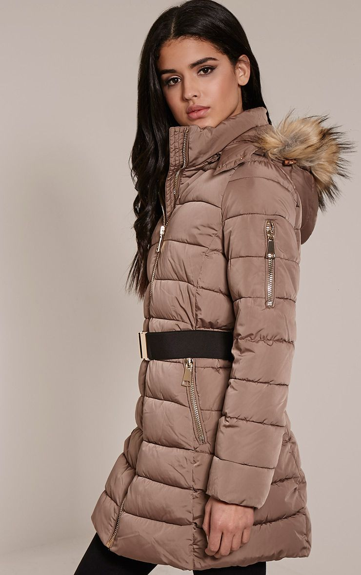 Iryna Taupe Hooded Parka 1