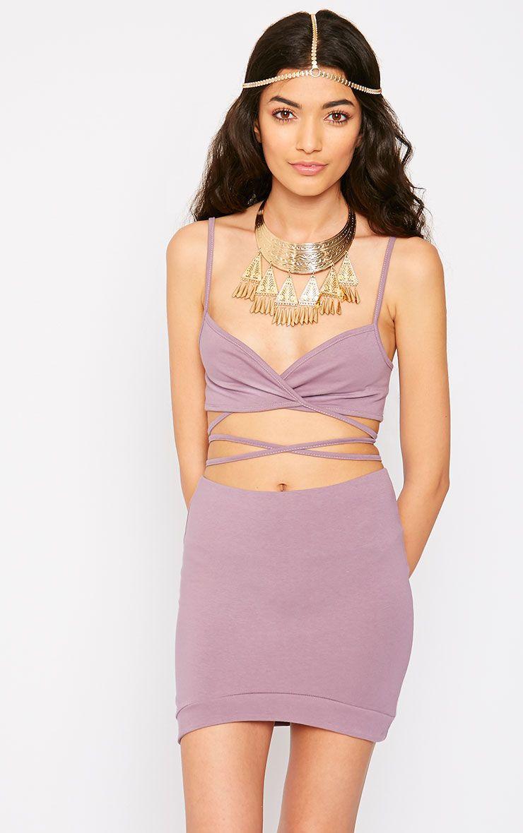 Phoenix Mauve Curved Hem Mini Skirt 1