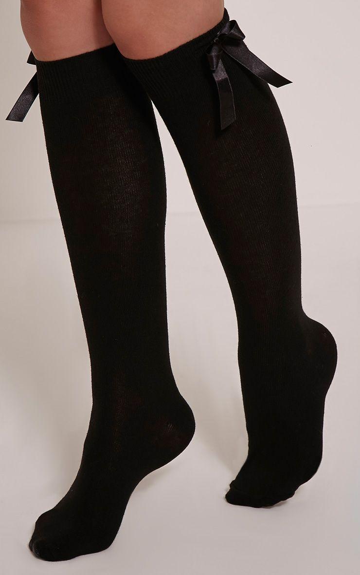 Vivie Black Bow Knee High Socks 1