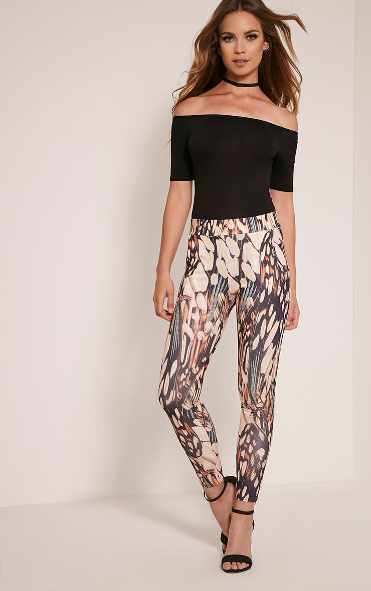 Aralyn Nude Abstract Print Crepe Cigarette Trousers 1