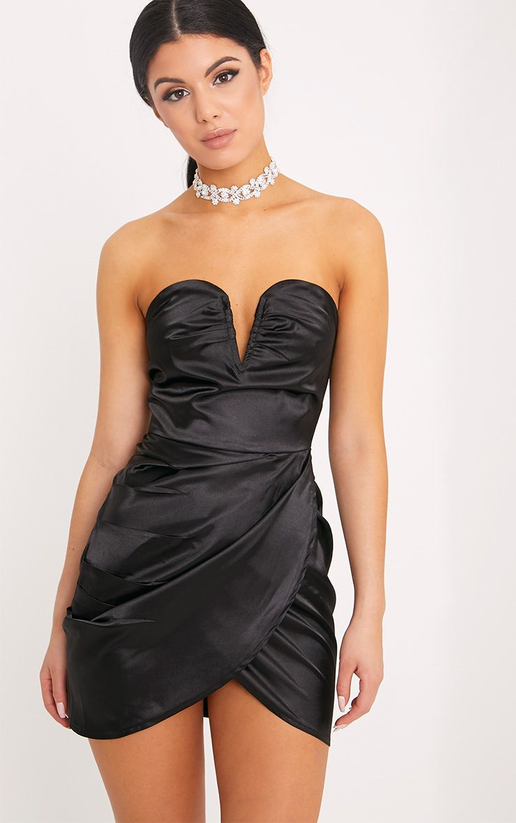 Jesania Black Satin Boned Bandeau Bodycon Dress