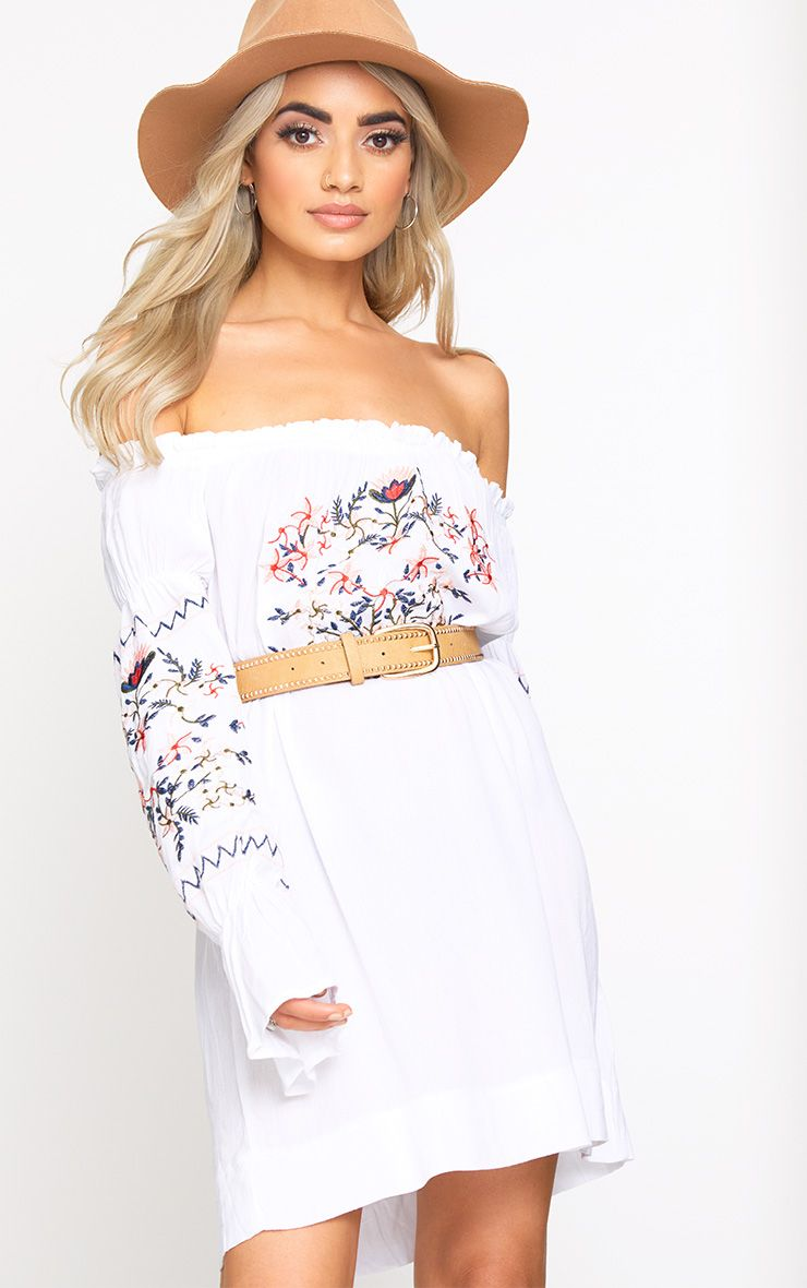 White Embroidered Bardot Shift Dress