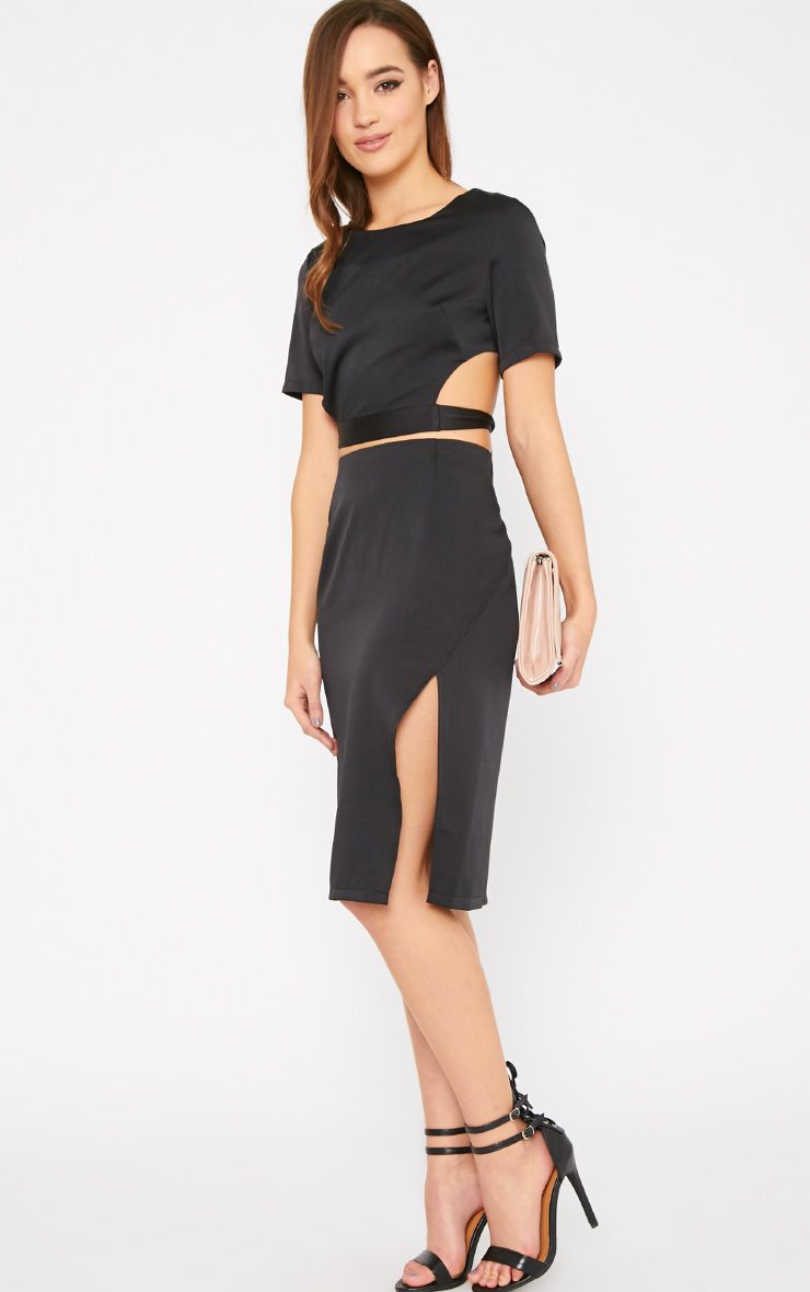 Ginny Black Slit Midi Skirt  1