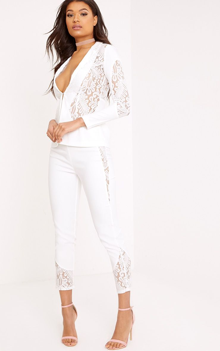 Mikaylah White Lace Insert Suit Trousers